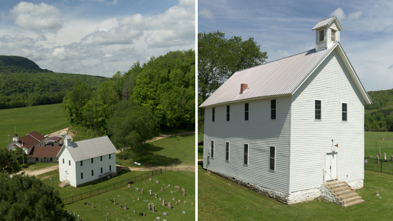 Side-by-side images of an aerial view of the Boxley Valley Church and its grounds and a close-up view of the church itself