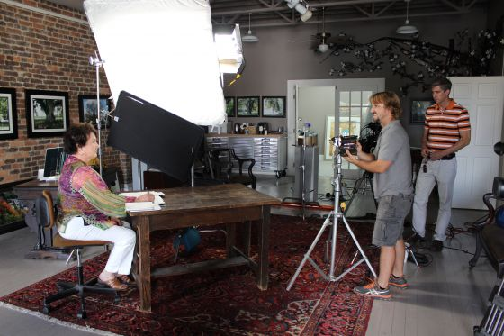 "In July 2012 AETN Producer Mark Wilcken and Lighting Director, Brent Bailey prepare to film Hot Springs artist Linda Palmer for the upcoming documentary, ""Champion Trees."""