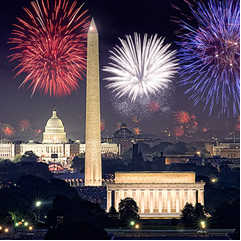fireworks behind nation's capitol