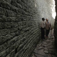 Henry Louis Gates Jr. looking at ancient wall