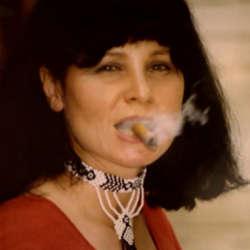 Ingrid Gipson somking cigar