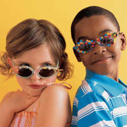 two children posing with sunglasses