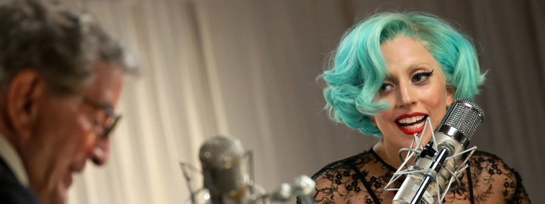 Lady Gaga and Tony Bennett in music studio