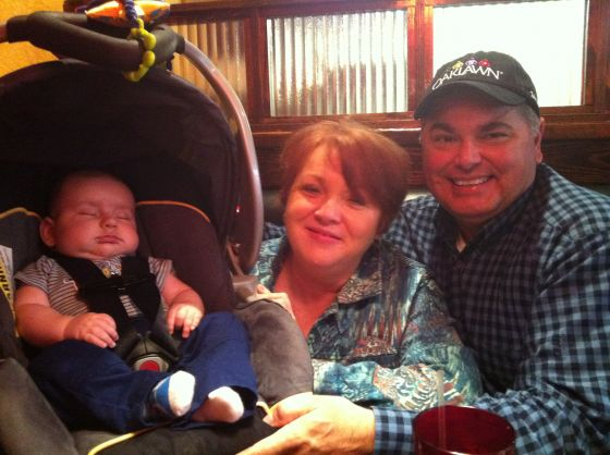 My mom and dad with Evan.