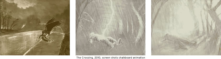 The Crossing, 2010, screen shots chalkboard animation