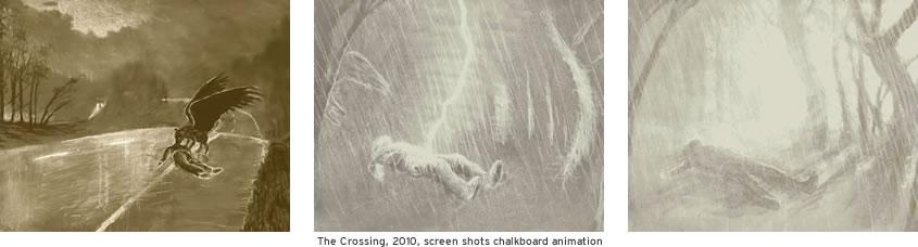 The Crossing, 2010, screen shots chalkboard animation