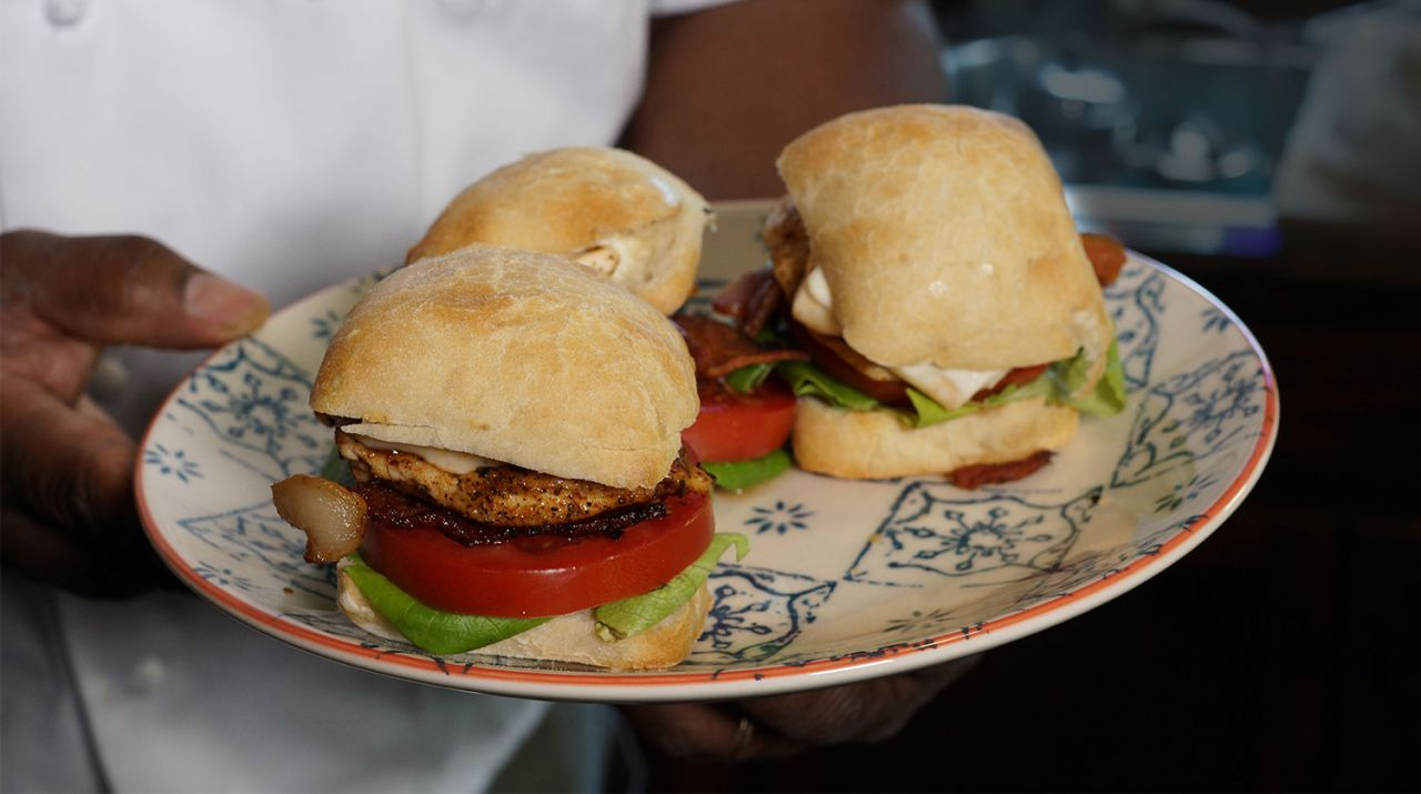 Cook With Brooks Triple Pepper Halloumi and Chicken Slider