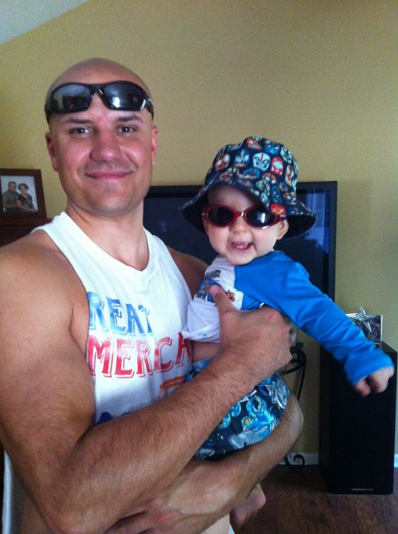 My husband, Brian, and Evan are beach-ready!