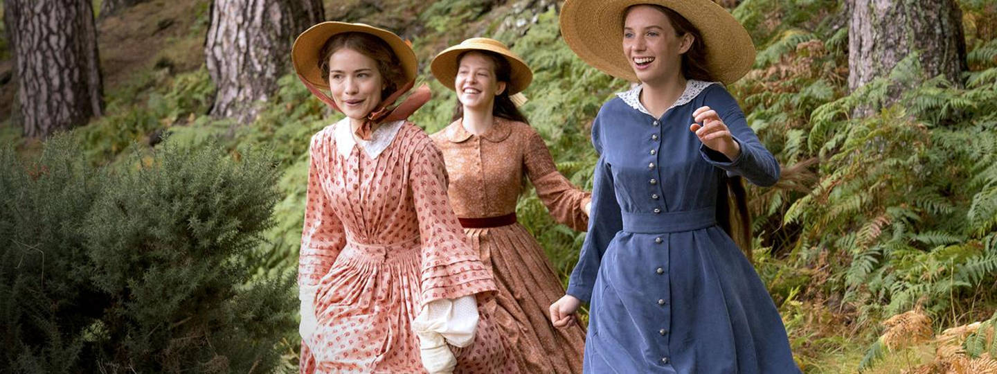 Shown from left to right: Willa Fitzgerald as Meg, Annes Elwy as Beth and Maya Hawke as Jo
