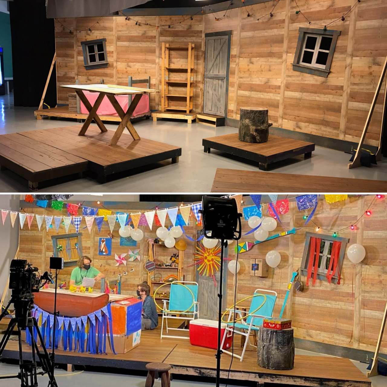 Blueberry's Clubhouse set without and with dressing.