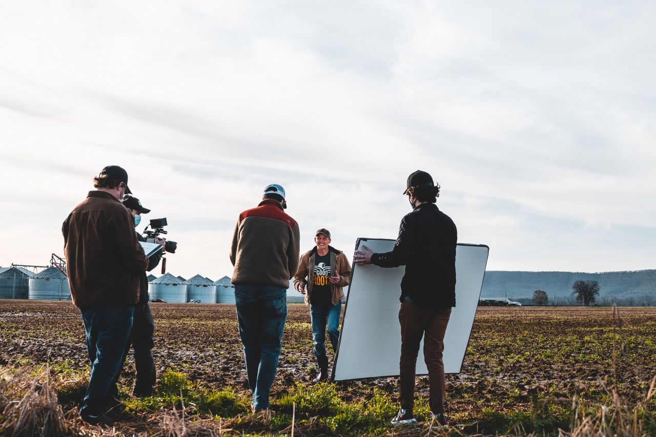Logan with camera crew