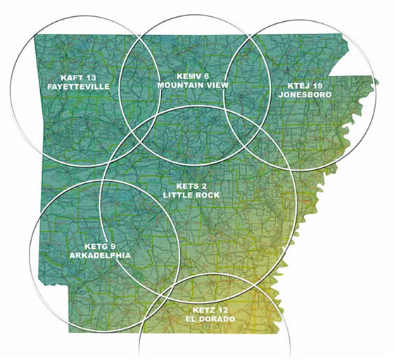 Graphic of the State of Arkansas with Transmitters Placed Around the State