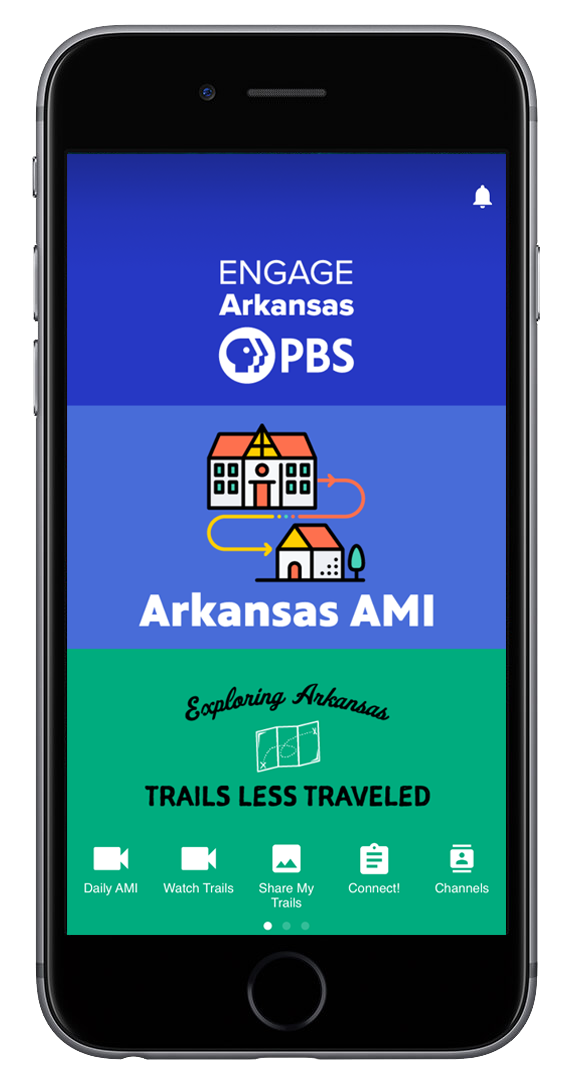 Image of the Engage MyArkansasPBS Mobile App on an iPhone