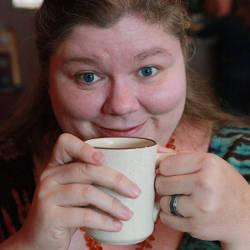 Kat Robinson drinking coffee