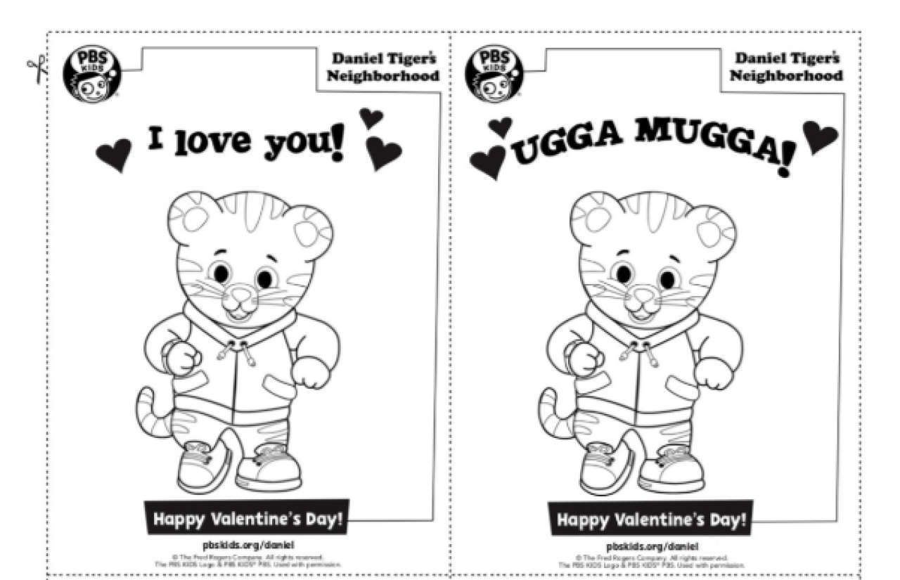 Daniel Tiger's Neighborhood Valentine's Day Coloring Sheets