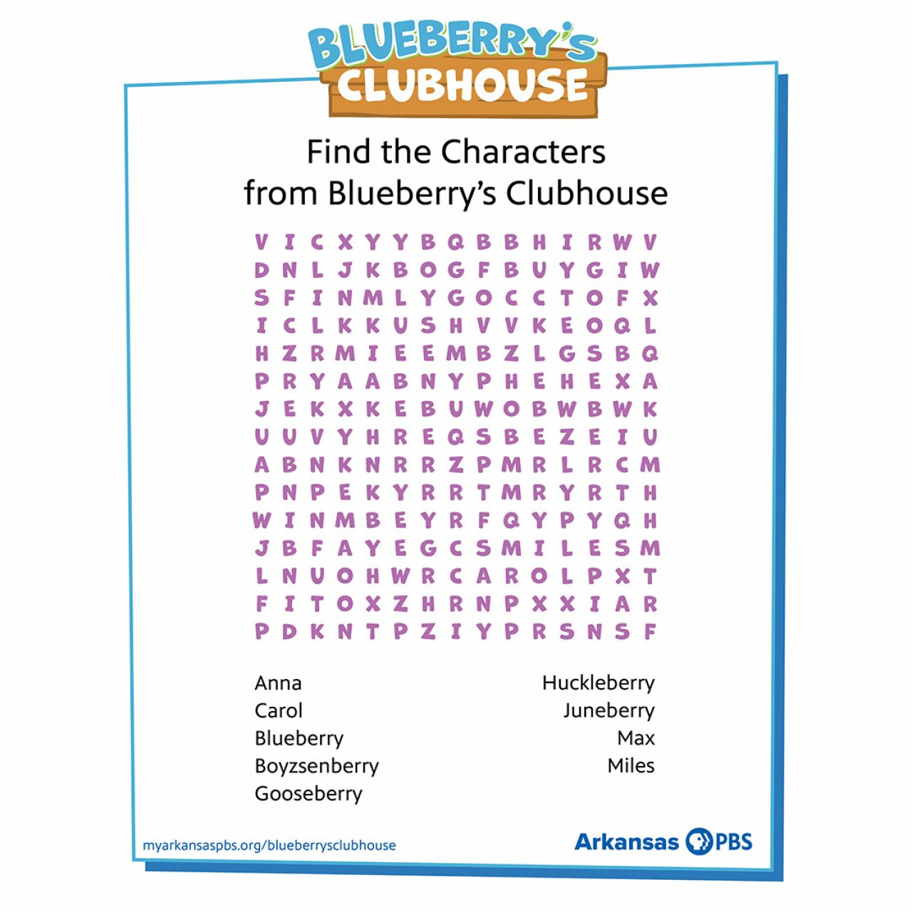 Blueberry's Clubhouse Word Search