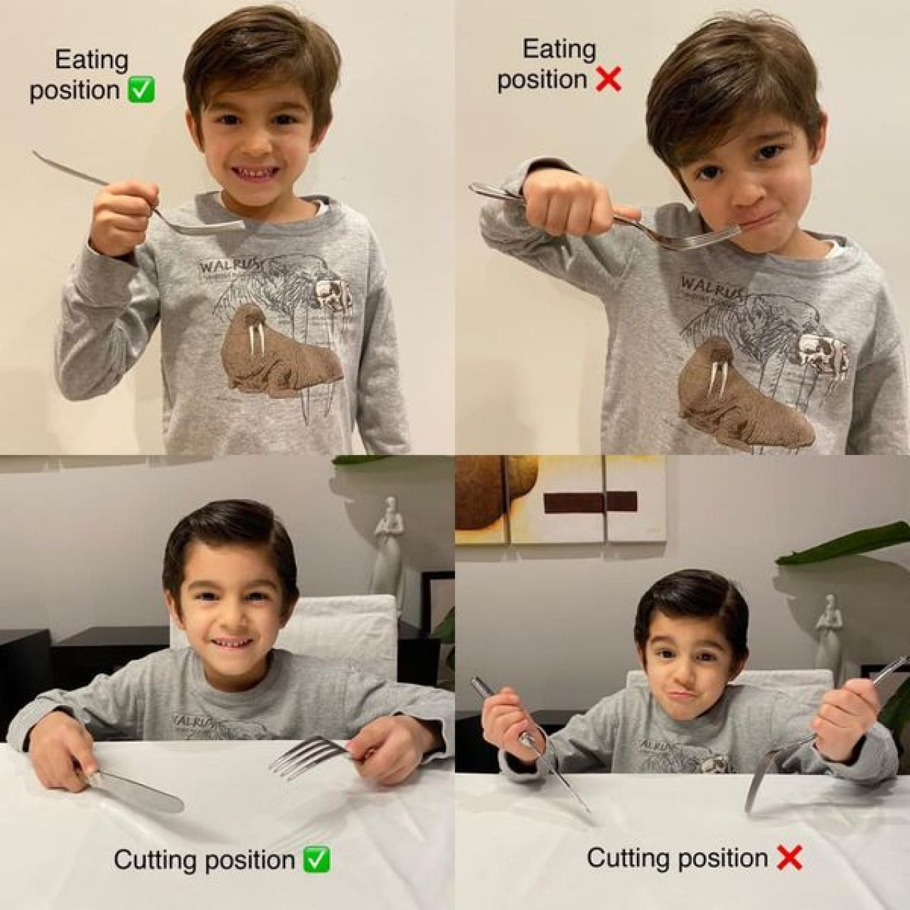 A young, brunette boy in a gray shirt with a walrus on it demonstrates proper and improper eating positions and cutting positions with cutlery