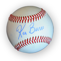 Image of baseball autographed by Ken Burns