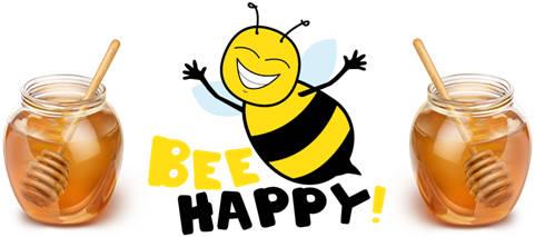 honey bee and honey pots