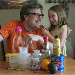 Father and daughter with supplies